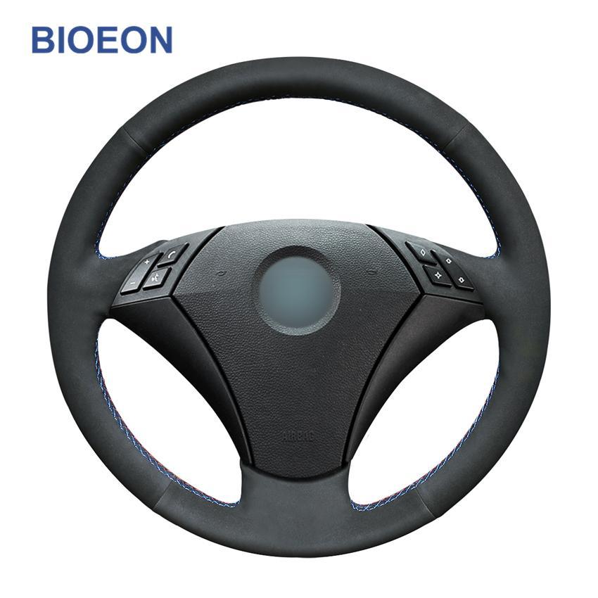 Сшитые вручную черные синтетические замшевые автомобильные крышки рулевого колеса для BMW E60 (SEDAN) 530D 2003-2009 E61 (Touring) 2004-2009