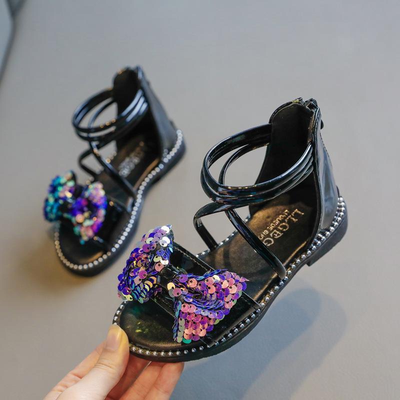 Chaussures Filles romaines 2020 Summer New Kids Haut-top bout ouvert Sandales enfants Princesse étudiants Sequin Bow Bottom Sandales sauvages mous