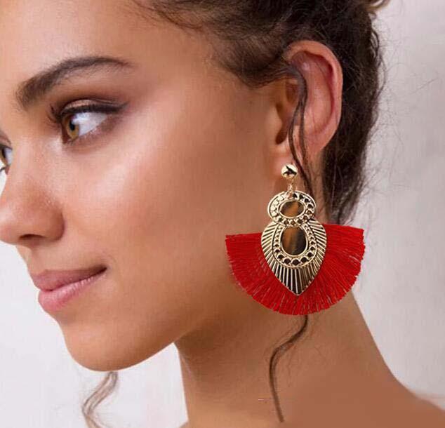 Выявление этнических красочных кисточек серьги для женщин винтажная длинная бахрома капли серьги смола большие металлические украшения Brincos