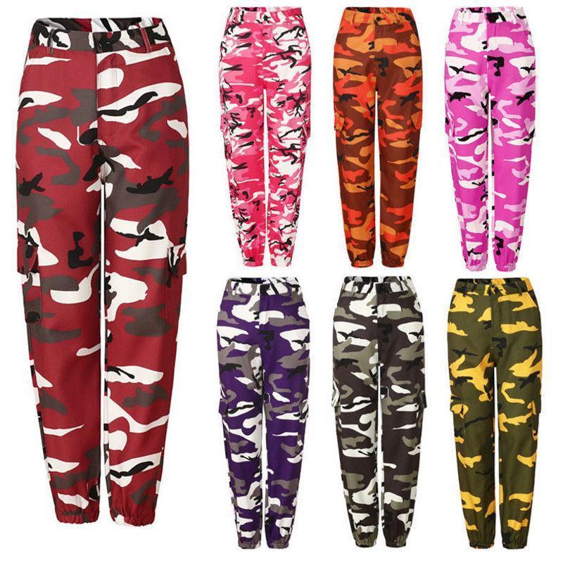 Las nuevas mujeres Camo Barco de alta Cintura Hip Hop a pantalones de combate militar del ejército camuflaje Pantalones largos caliente Capris