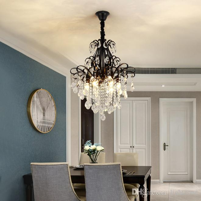 American modern crystal chandelier lighting luxury black crystal chandeliers led pendant lamp for foyer bedroom dinning room kitchen
