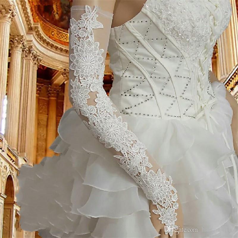 أحمر طويل الدانتيل العروس قفازات الزفاف قفازات الزفاف الدانتيل يزين الزفاف اكسسوارات قفازات للعرائس أصابع فوق الكوع الأوبرا طول