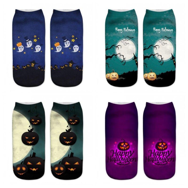 Großhandel Halloween-Muster trifft 3D-Druck kurze Socken Kürbis Multi Colro Startseite Unisex Eco Friendly gut verkauft 1 95ml H1