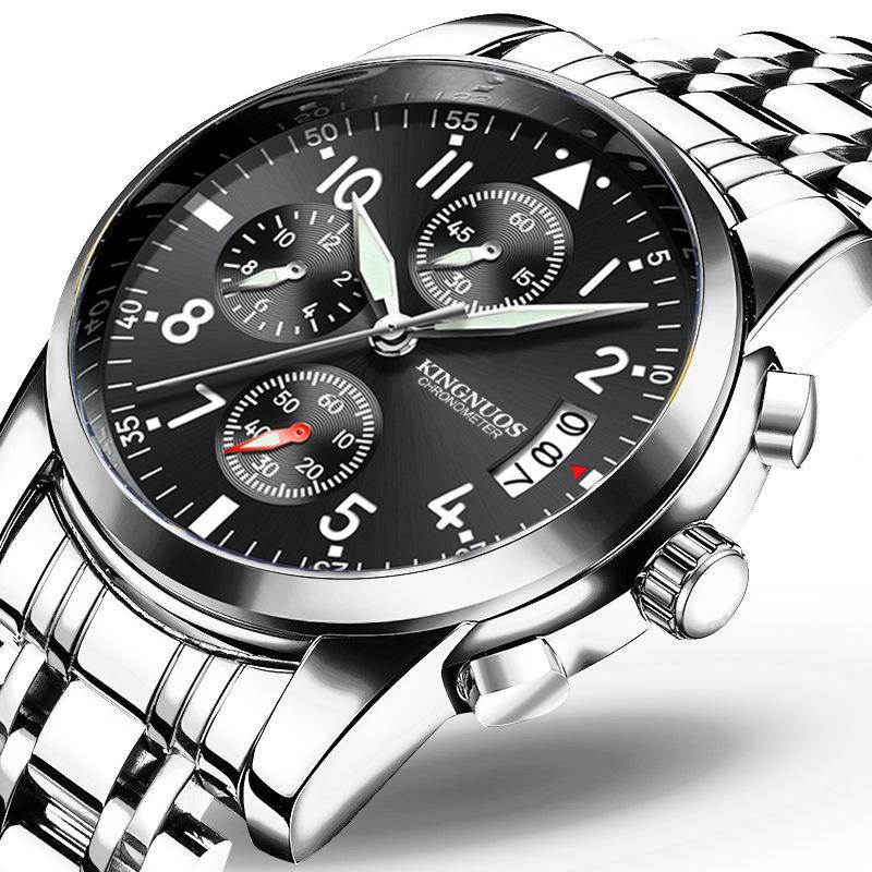 Reloj de pulsera de acero para hombre Reloj de calendario único Noctilucente Impermeable Reloj de pulsera Reloj de pulsera