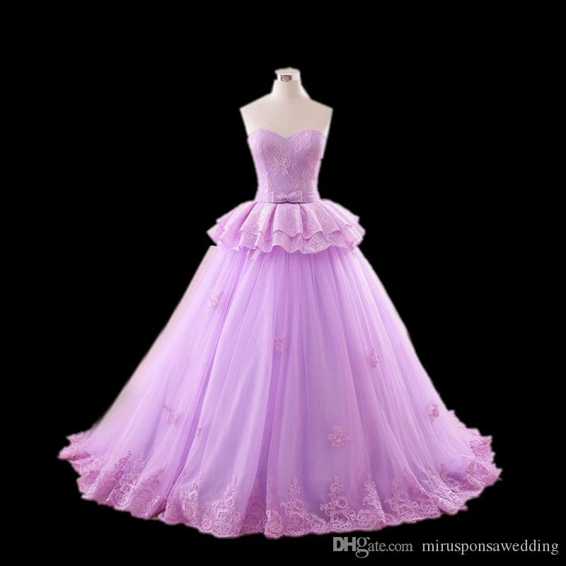 Chic Sweetheart Tulle Ball Gown Maternity Wedding Dress Lace Appliques Purple Wedding Dresses under 200 vestidos de noiva Wedding Gowns