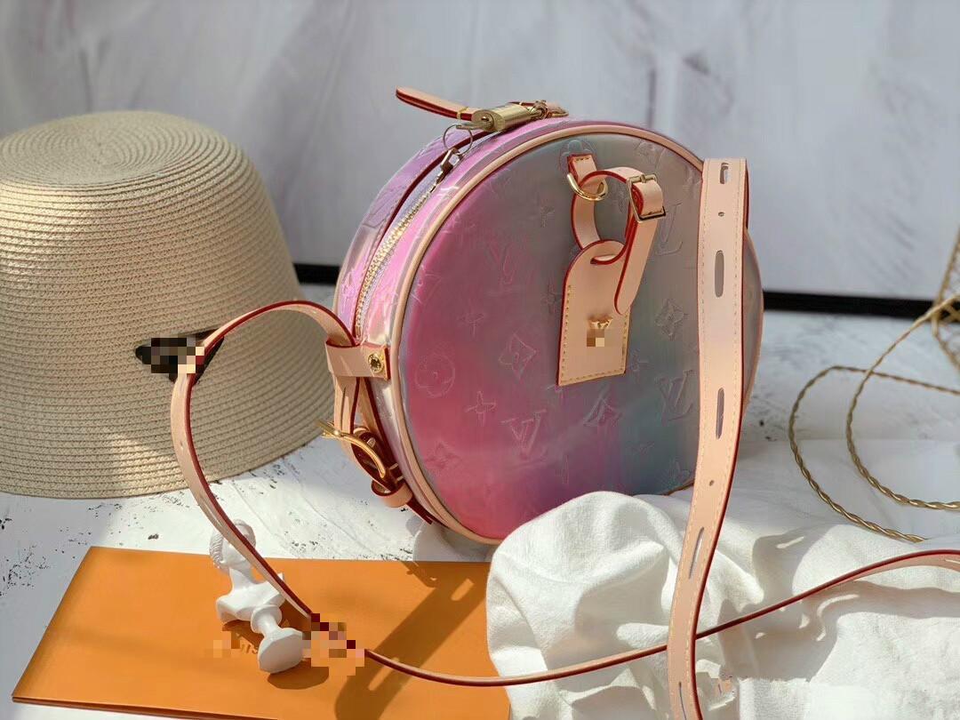 la cadena bolso de hombro nueva tendencia mujeres colorido transparente Jelly pvc láser bolsa de mensajero reflejan mini-fiesta en la playa de los bolsos H148