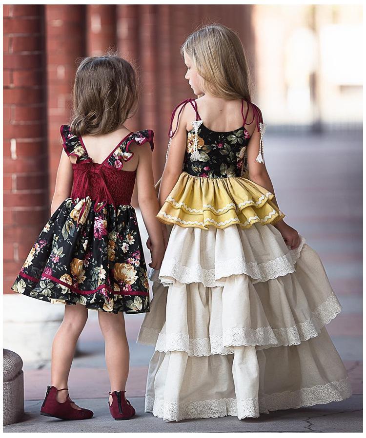 INS bebés vestidos de verano de la muchacha niños florales impresos niños del vestido de la princesa del falbala arquea el vestido de la playa sin respaldo ropa del niño de Y1057