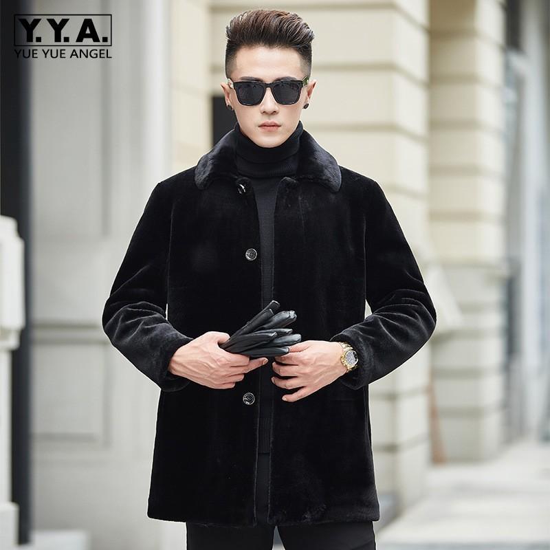 Moda Slim Fit chaqueta de lana de lujo de invierno da vuelta-abajo ovejas solo pecho abrigo de pieles del negocio de los hombres más el tamaño 3XL