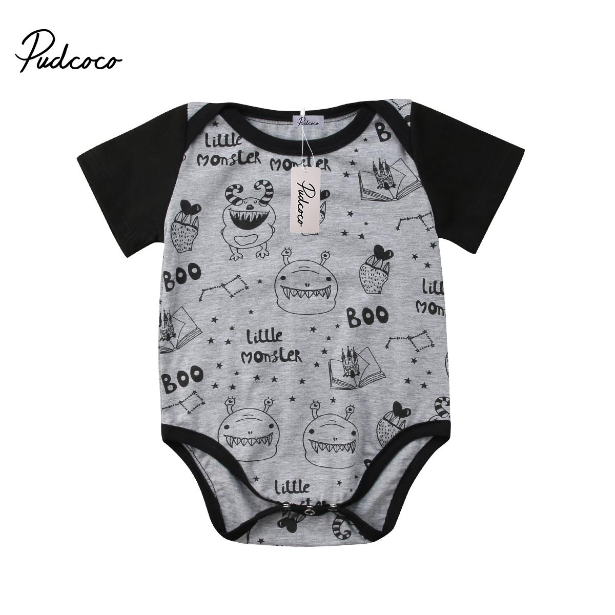Neugeborenes Kind-Baby-Mädchen-Cartoon Short Sleeve-Strampler Babys Printing Bodysuits Outfits Kleidung 0-18M