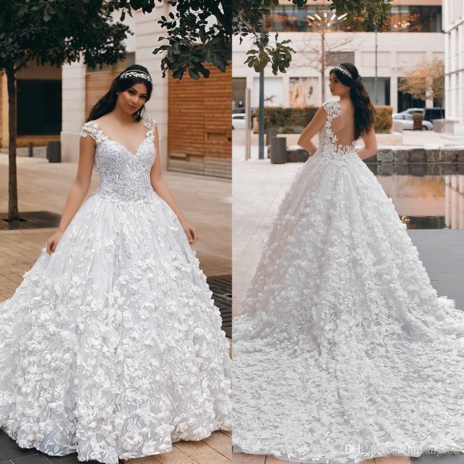 2020 Arapça Ülke Gelinlik 3D Çiçek Aplike Boncuklu A Hattı Kilisesi Gelinlik Custom Made Dantel Elbiseler De mariée