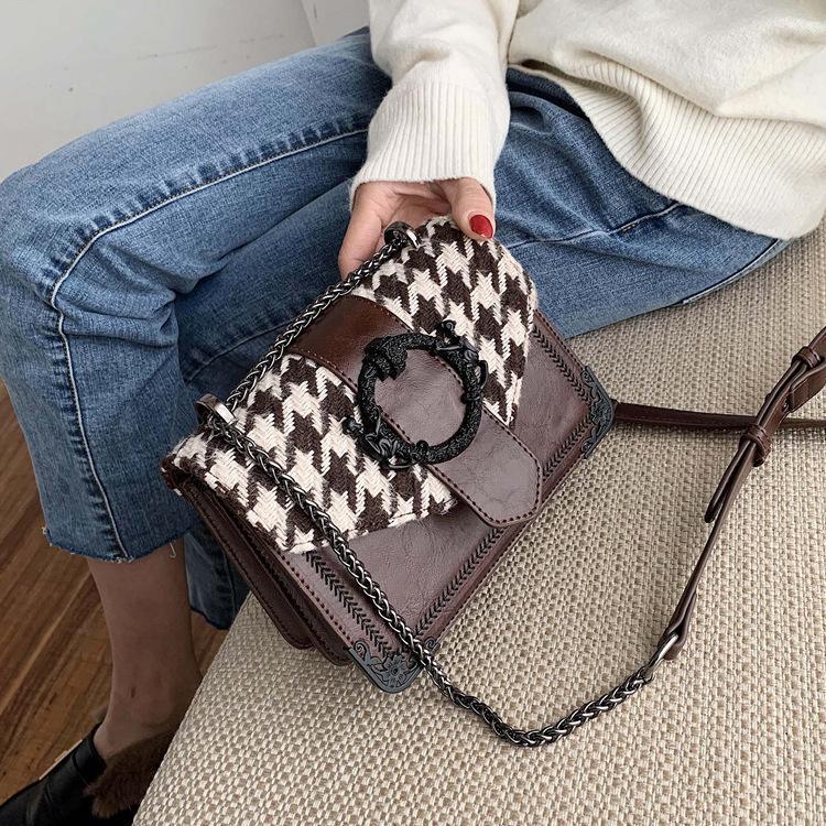 para ile şık küçük çanta kadın 2020 yeni Kore ulzzang vahşi Messenger omuz ins küçük kare paket yünlü
