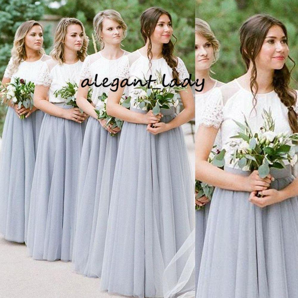 Two Tone Boho Campagne Robes de mariée avec des manches 2019 Jewel Neck Lace Top pleine longueur junior de mariage Party Guest robe