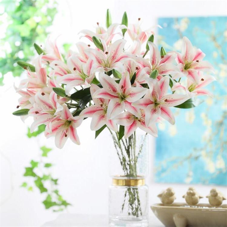 """Поддельные Real Touch PU Lily (3 стебля / шт.) 24,8 """"Длина Моделирование 3D-печать лилии для Свадьбы Главная Декоративные Искусственные Цветы"""