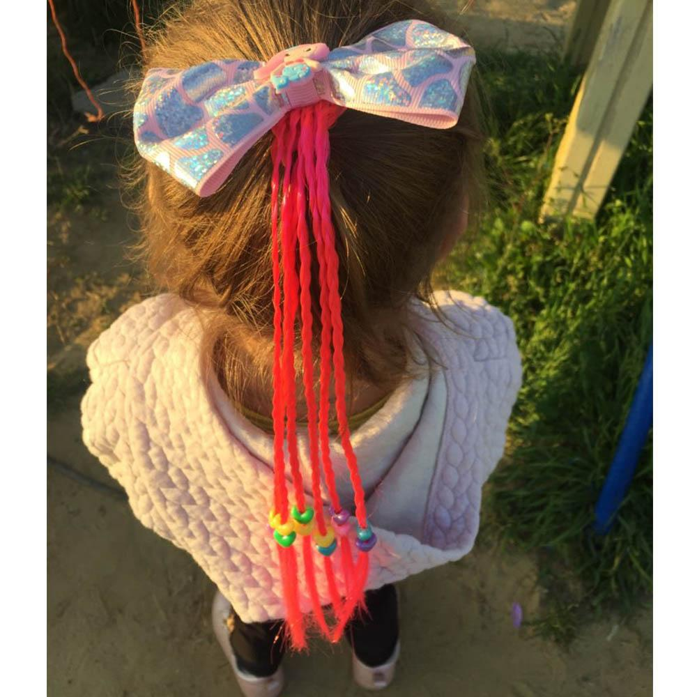 2020 Hair Bows Hair Bands for Girls Mermaid Bowknot Scrunchie for Hair Tie Kids Colorful Long Braids Headband