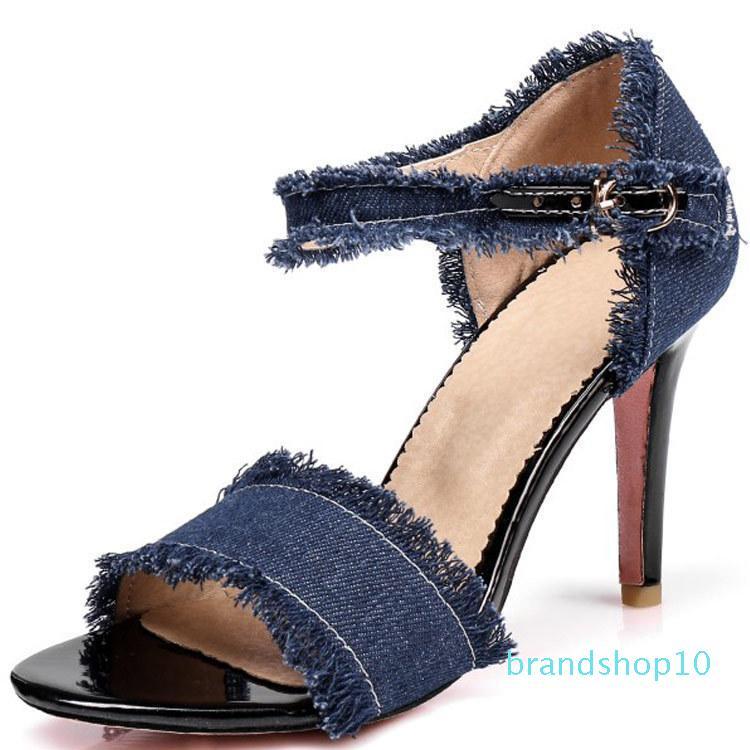 Fairy2019 Sandalen Will 40-47 Cowboy-Tuch-One Schriftdamenschuhe Super High fein mit Schuh K - 5