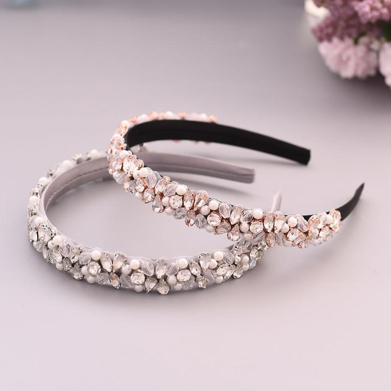 TOPQUEEN de lujo Rhinestone barroco venda cristalina boda Tiara Diadema de pelo nupcial blanco nupcial corona S387-FG