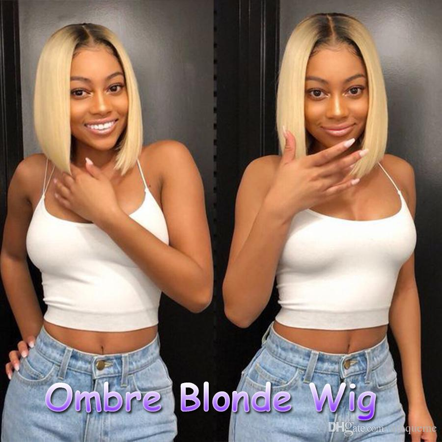 Dark Roots Ombre Short Bob Wigs Synthetic Hair Lace Wigs Honey Blonde Straight Hair Lace Front Wigs For Women Cheap Cosplay Wig Uniqueme