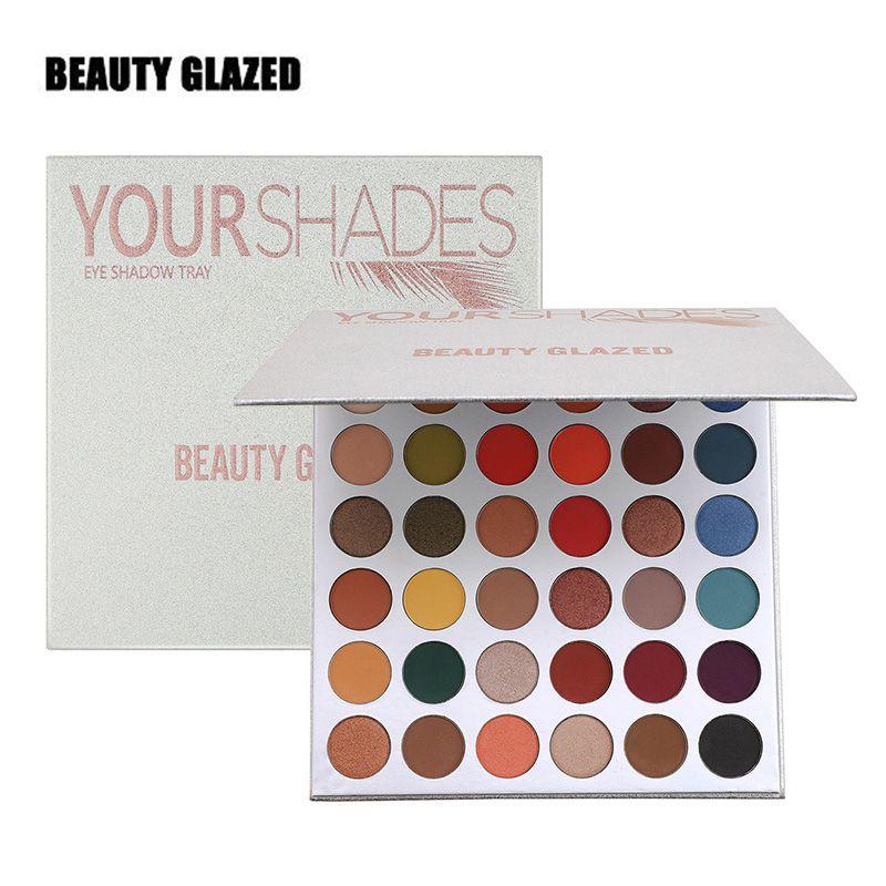Beauty Glazed 36 Colours Your Shades Высокопигментированная палитра теней для век 2019 Матовый блестящий металлический макияж для теней для век Розничная продажа Dropshipping