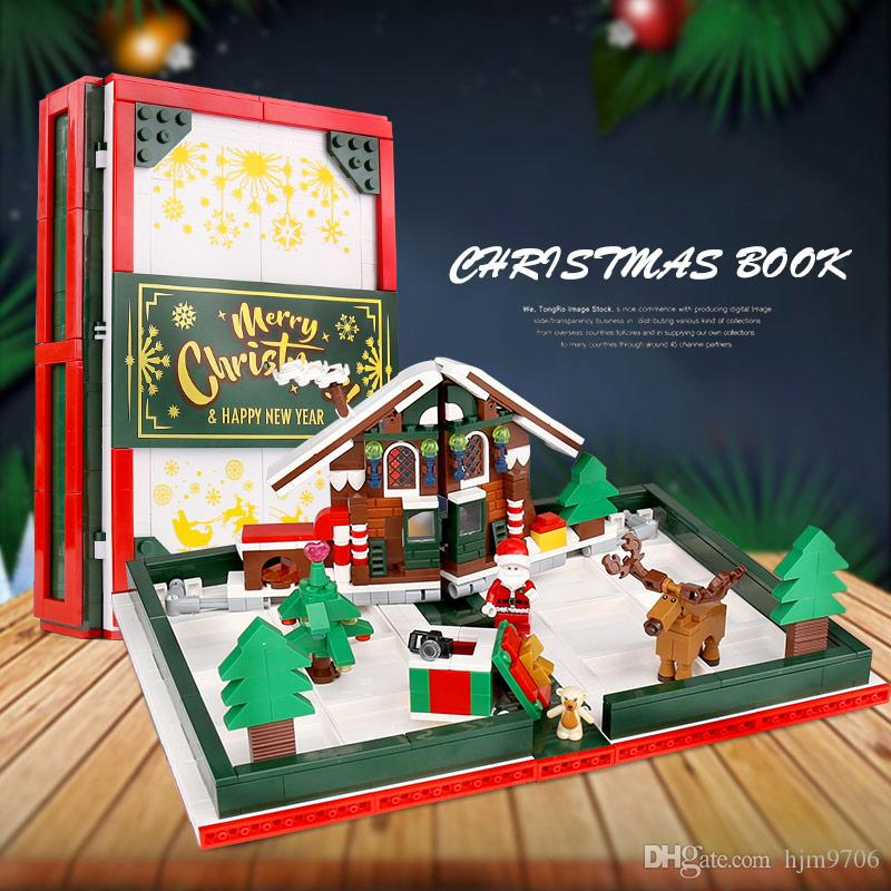 SEMBO 601094 فكرة سلسلة شجرة عيد الميلاد قصة كتاب 3D سانتا كلوز بنة لبنة ولعب للهدايا الأطفال