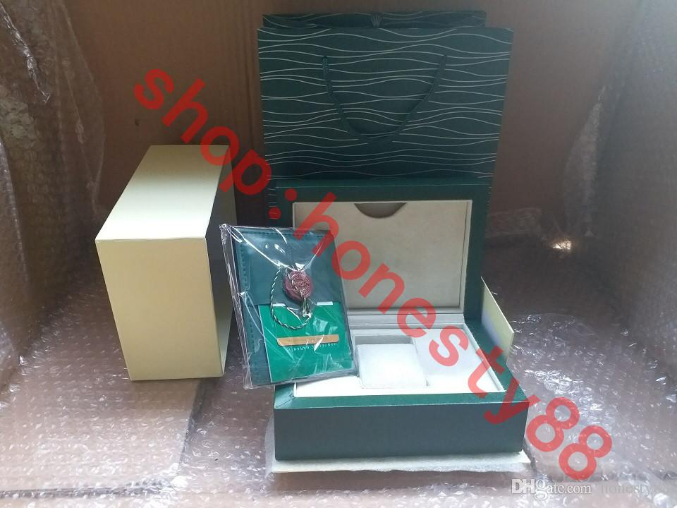 Top Luxury Watch Green Box Papers Gift Watches Boxes Leather bag Card 0.8KG For Rolex Watch Box