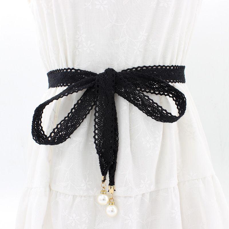 Moda all-jogo cadeia de cintura rendas pérola cintura amarrada corda fêmea