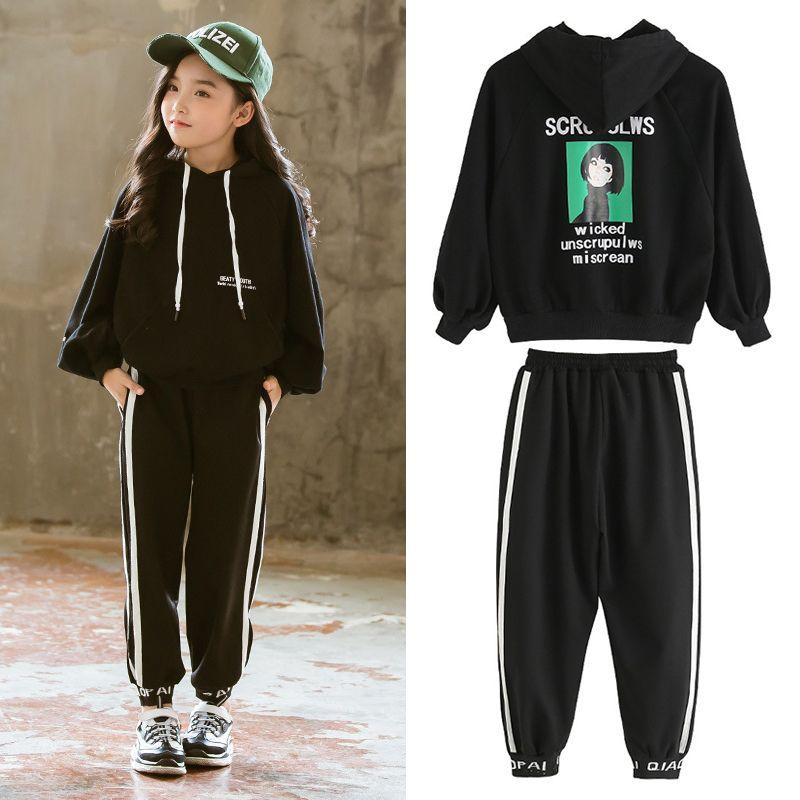 Baby Girl Clothes primavera Felpa con cappuccio per bambini vestiti a strisce Pantaloni Casual Insiemi a due pezzi della ragazza del bambino del ragazzo dei vestiti