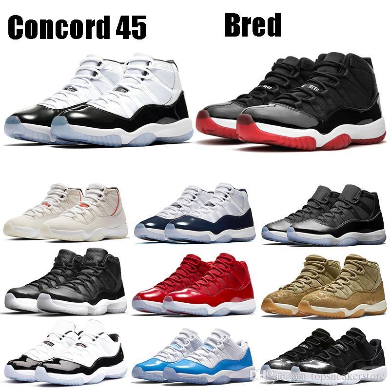 Nueva Bred Zapatos Jampman 11s metálico blanco de plata del baloncesto de Concord 45 bajo la serpiente de luz espacial Bone Jam Gimnasio Hombres Mujeres Rojo estilista de las zapatillas de deporte