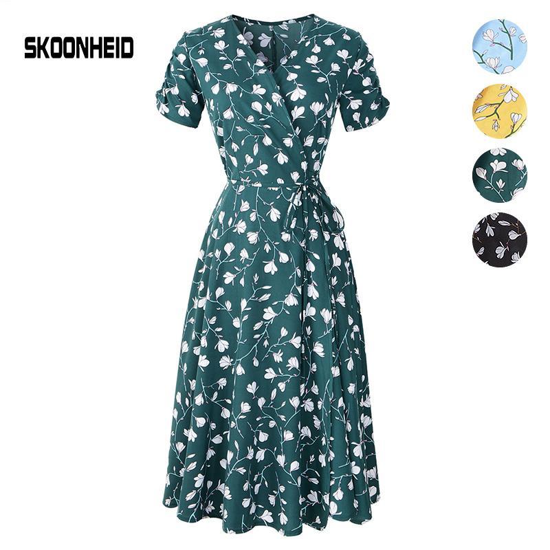 Skoonheid Yeni Yaz Baskı Çiçek Elbise Kadın V Boyun Kısa Kollu Şifon Bohemian Elbiseler Plaj Midi Kadın Wrap Uzun Elbise Y19070801