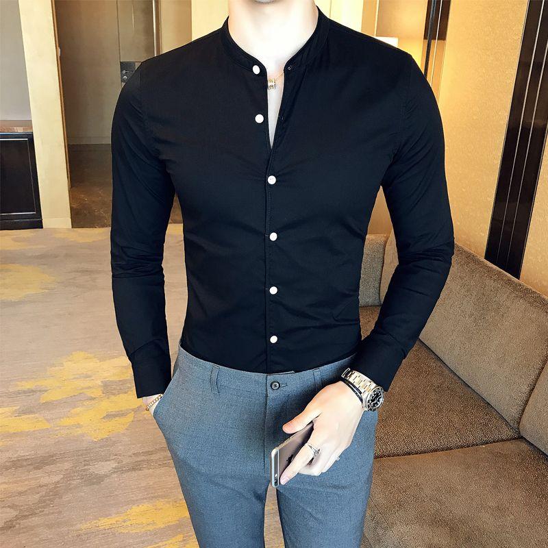 Мужчины сплошной цвет рубашки тонкий подходят длинный рукав белый бизнес платье рубашка стенд воротник повседневные социальные мужской черный смокинг