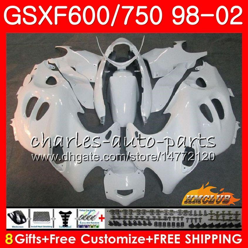Тело для Suzuki Katana Glossy White GSXF 750 600 GSXF600 98 99 00 01 02 2HC.27 GSX750F GSX600F GSXF750 1998 1999 2000 2001 2002 Комплект