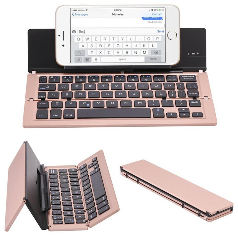 portátil mini teclado plegable teclado inalámbrico Bluetooth con panel táctil del ratón para Windows, Android, iOS, iPad, teclado del teléfono