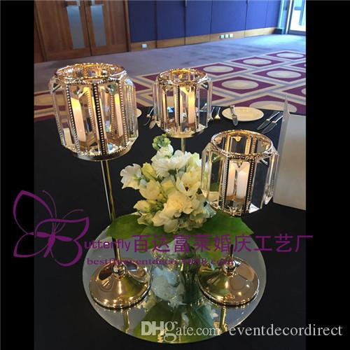 Votive Crystal Gold Tealight Candle Holders Pillar Table Centerpiece for Wedding Dinner Decor