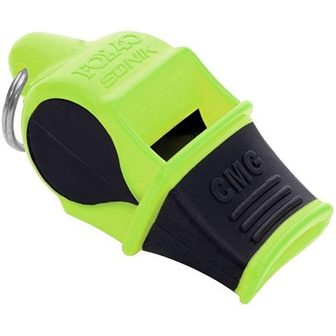 EDC GEAR FOX 40 Sonik Blast CMG Whistle Lifeguard Whistle Whistling Multicoloured Neon-Yellow/Red/Green/Black with Breakaway Cord M66R F