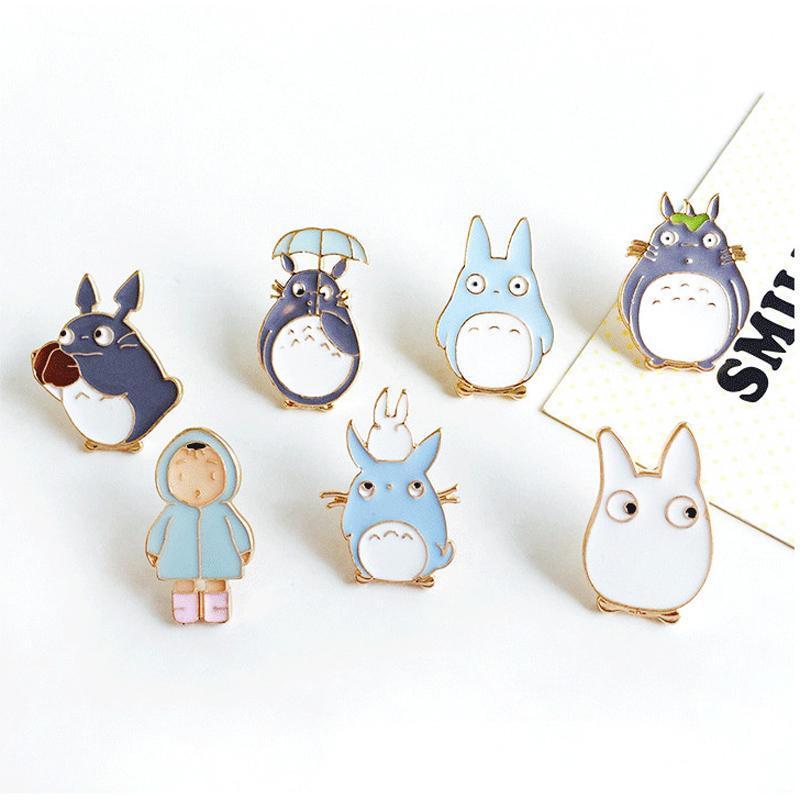 Vente en gros - 1pc Harajuku Unisexe Alliage Émail Anime Mignon Totoro Fille Broche Badges Épinglette Safe Broches Écharpe Cool Garçon Femmes Bijoux