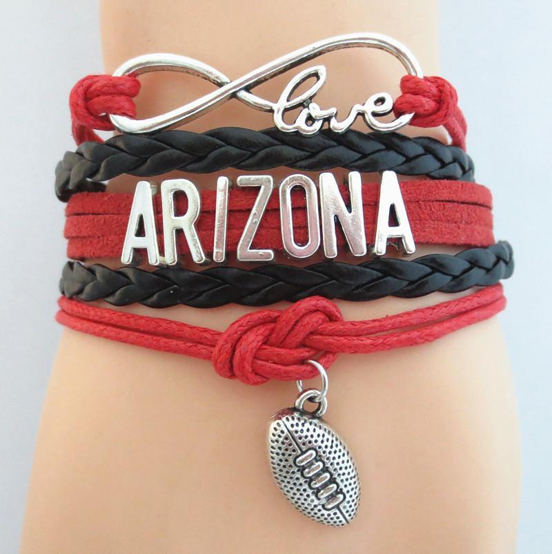 Bijoux Infinity Love Arizona football équipe Bracelet rouge noir amitié Bracelets B09068
