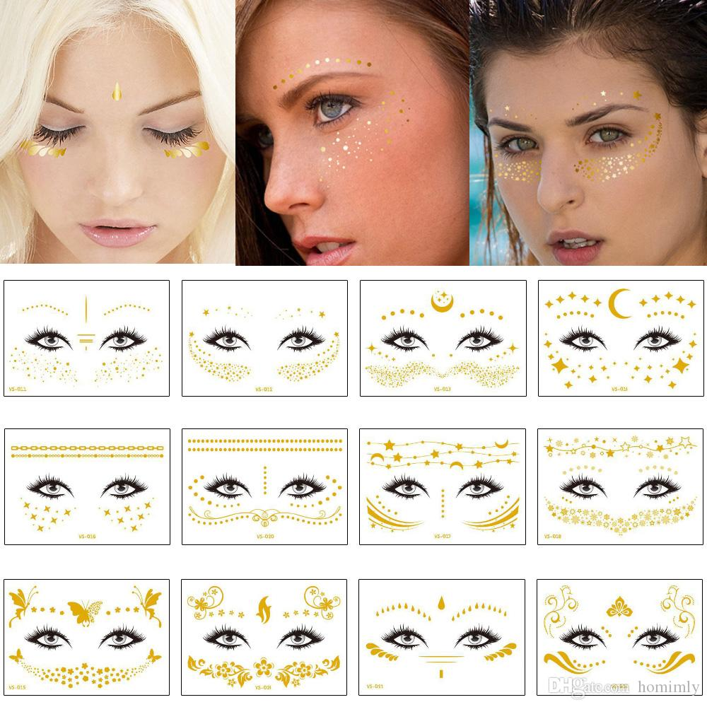 Gold Temporary Female Face Metal Tattoo Sticker Buterfly Moon Scale Chain Jewelry Flash Tattoos Body Art Electronic Syllable Festival Makeup