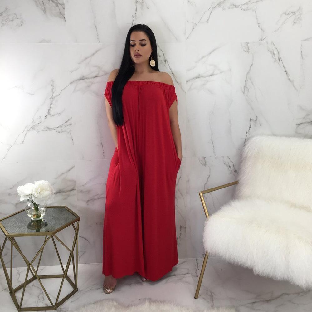 Yeni Geliş Bayan Moda Seksi Tulumlar Yaz Skinny Günlük Gevşek Tek Parça Suits Kızlar Saf Renk Elbise