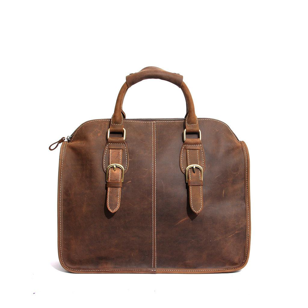 Top layer cowhand handbag for men and women retro crazy horse leather briefcase business casual one shoulder cross-body handmade bag