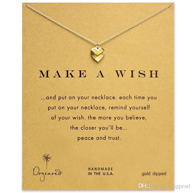 Dogeared Amor Coração Choker colares Com Desejando colar de pingente Cartão de Prata Moda Mulheres para jóias fazer um desejo