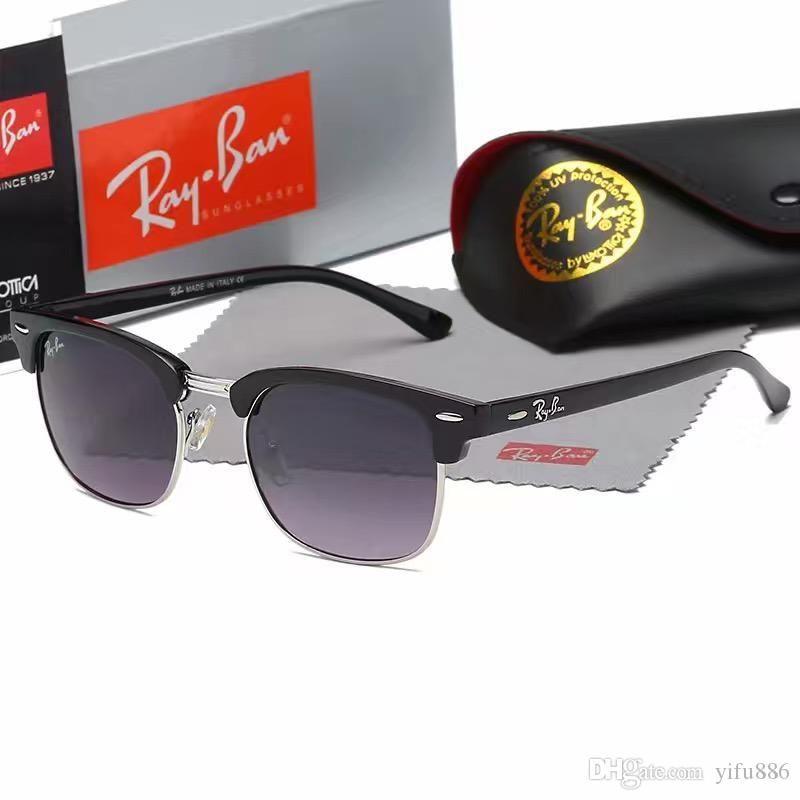 1pcs qualità di modo Occhiali da sole rotondi Mens alta Womens lenti in vetro scuro Occhiali da sole in metallo color oro nero Meglio box