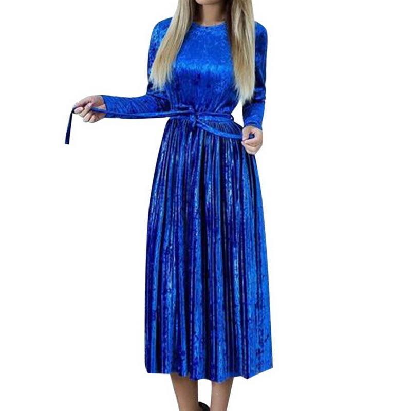 Lasperal 2018 Summer Women Velvet Dress Long Sleeve Party Dress Fo Neck Vintage Retro Dresses Ashion Slim Vestidos Y190507