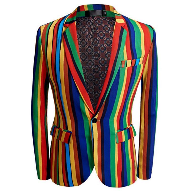 İnce rahat takım elbise balo karnaval ceket baskı Yeni kutlama Noel moda erkek takım elbise renkli çizgili
