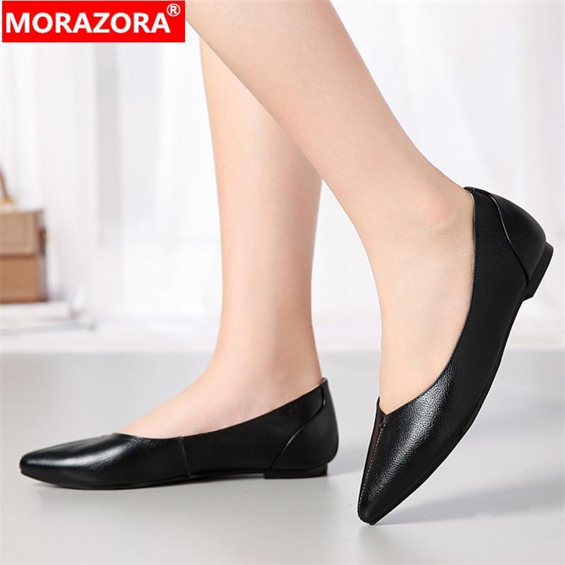 MORAZORA 2020 Yeni rahat kadın daire hakiki deri moda sivri burun bayan ayakkabı sığ daire yaz