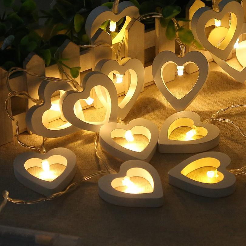 1m 10leds 2m 20leds Wooden Heart Led String Lights Romantic Valentine's Day Christmas Birthday Wedding Party Decoration Lights