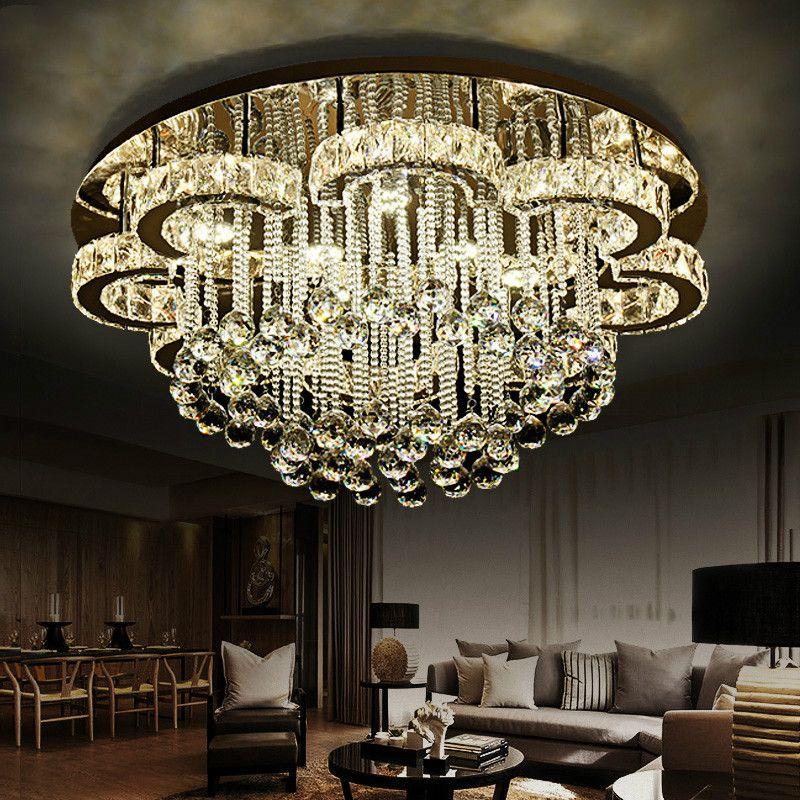 قلادة مصابيح فاخرة الحديثة بريقا k9 كريستال led السقف الثريا زهرة كروم الصلب عكس الضوء الثريا الإضاءة luminarie