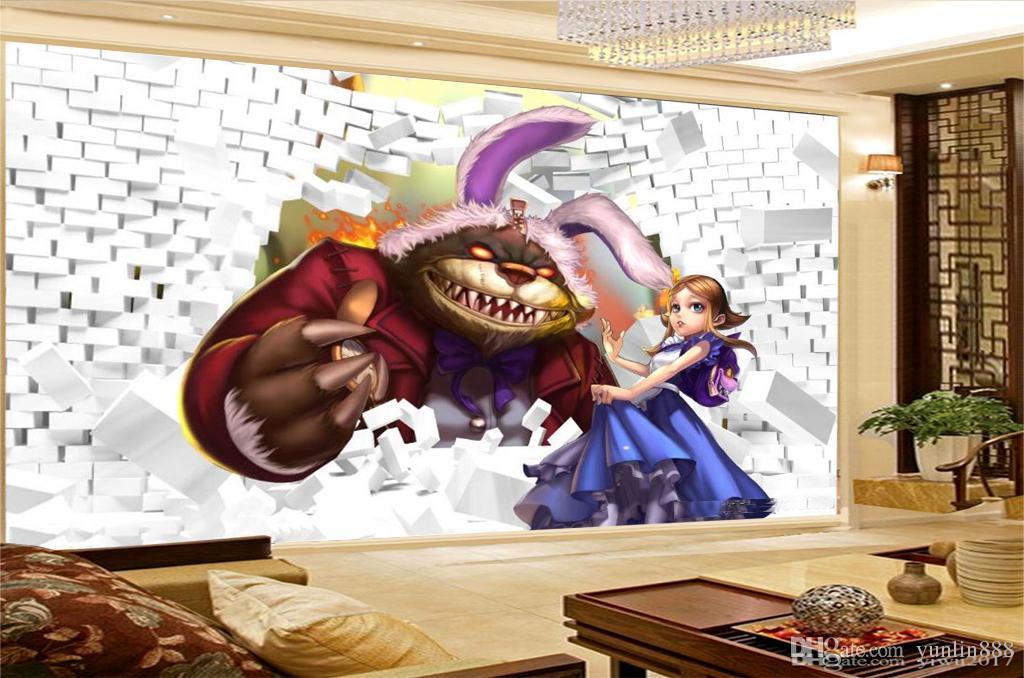 Papel pintado personalizado de la promoción 3d a través de la pared Animal de la historieta y muchacha hermosa Práctico papel decorativo de pared