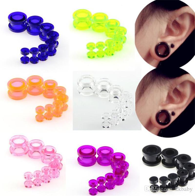 Nueva 1 Set 8pcs del oído Medidores de silicona suave tapones para el oído túneles de la joyería del cuerpo Camillas de múltiples colores Tamaño De 2-12MM