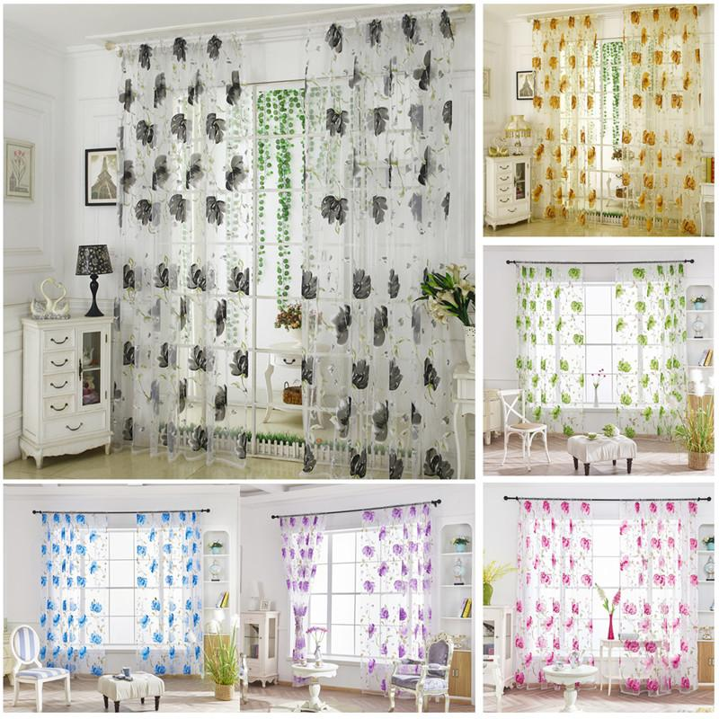 2020 Flower Yarn Curtain Panels For Living Room Kitchen Window