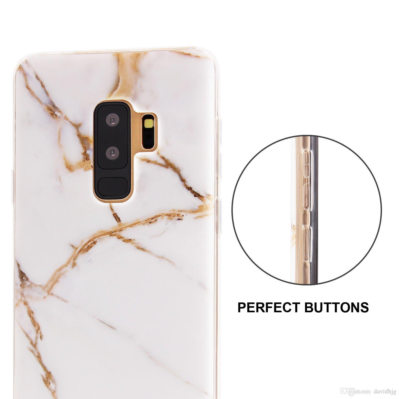 Корпус Galaxy S9 Plus 2019, Мраморный чехол S9 Plus Тонкий противоударный царапинам Матовая отделка Гибкий прозрачный прозрачный бампер TPU Soft