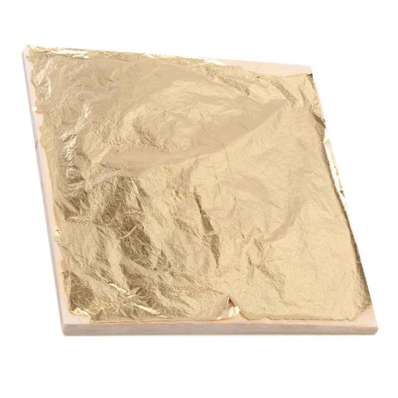 100pcs 14cm Imitation Gold Sliver Copper Leaf Leaves Metal Sheets Foil for Gilding Craft Decoration DIY Art craft paper Decor